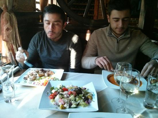 Lunch in Zorba: mussaka and Greek salad
