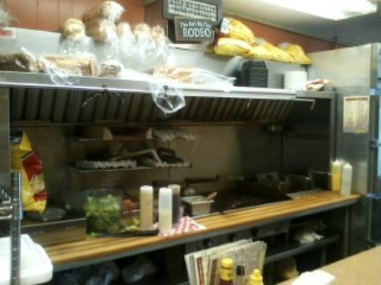 Chuck Wagon of Mackinac: The open kitchen grill