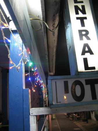 Central O'tel: The neon sign of the hotel taken from their porch
