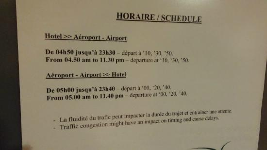 Nash Airport Hotel : расписание шаттлов