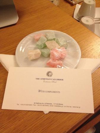 The Athenian Callirhoe Exclusive Hotel: Honeymoon amenities. Not very tasty