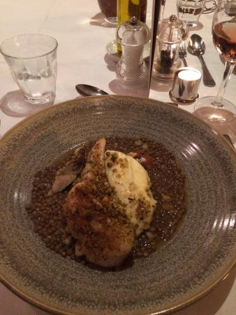 Brasserie Blanc: Gorgeous! COD FILLET grilled. SPICED LENTILS. LEMON & PARSLEY BREADCRUMBS