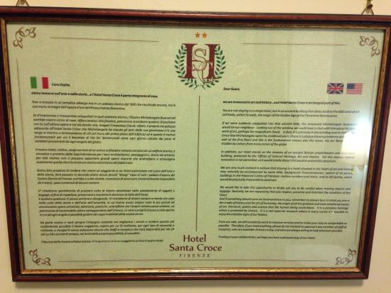 Hotel Santa Croce : Plaque in the room