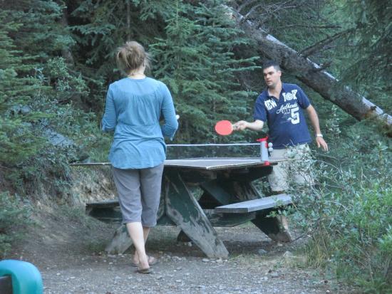 HI-Beauty Creek Wilderness Hostel: Intense pong action!