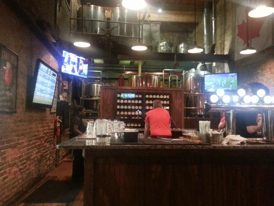 The Cannon Brew Pub: Looking toward the bar area and the brewing area