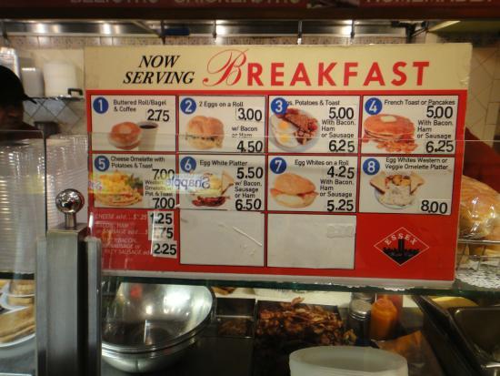 Essex World Cafe: Breakfast Menu