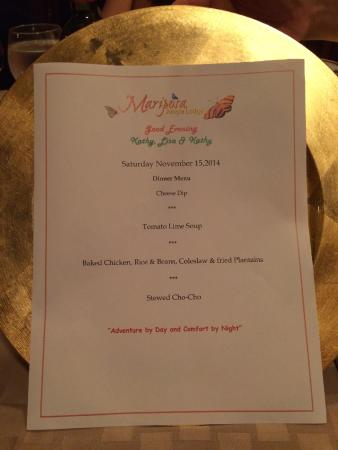 Mariposa Jungle Lodge: Personalized menu - they ask you your preferences before you get there and tailor each meal.