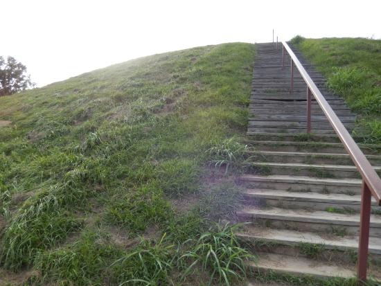 Natchez, MS: Stairs to the top of the smaller mound atop the main mound