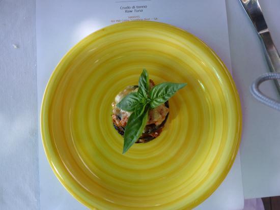Francesca's Beach Club Bar Restaurant : Eggplant parmigiana as part of our degustation