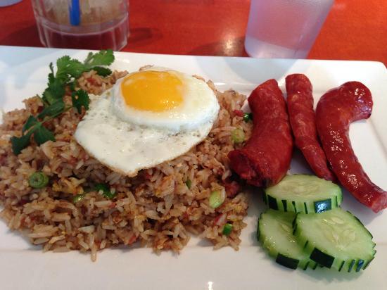 Simpang Asia: Brunch nasi goreng with corned beef and Portuguese sausage
