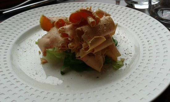 Provence Caffe : copeaux de foie gras sur fonds d'artichauts
