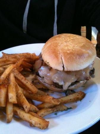Morgan's Tavern & Grill: Burger with bacon, swiss, mushrooms and black pepper fries.