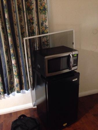 Riverside Inn and Suites: A window screen was propped up against the mini fridge....
