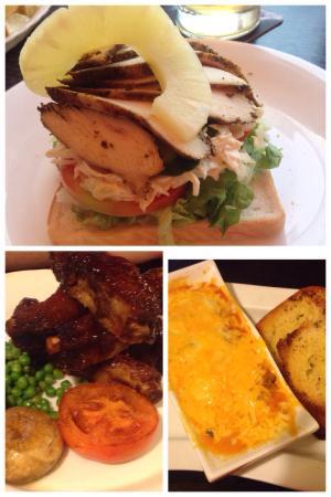 Harbour Lights: Cajun chicken open sandwich, rib tickler, lasagne!