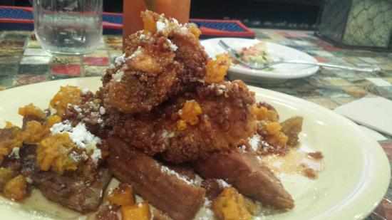 Crafted, The Art of the Taco: Fried french toast with chicken!