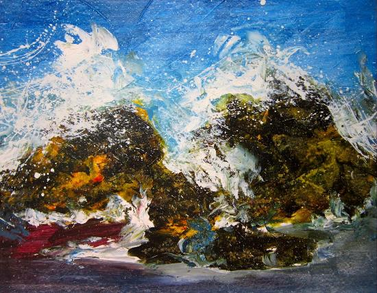 Nina Gallery Cafe: Wave on rocks, Acrylic 70 x 70 cm
