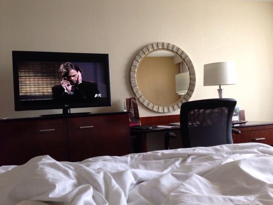 Hanover Marriott: In Marriott's cozy bed watching my favorite show