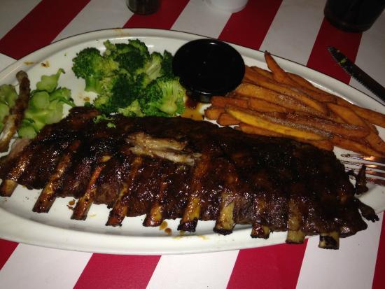 TGI Friday's: ribs, broccoli, sweet potato fries