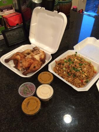 Machu Picchu Peruvian Restaurant: Take out chicken with rice