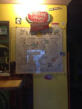 Angela's Starfish Restaurant : Menu