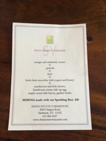 Shinn Estate Farmhouse: Our breakfast menu