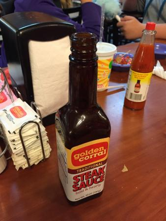 Golden Corral: I'm sure this is against board of health regs.  All the steak sauces are missing caps in every t