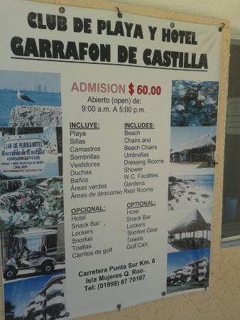Garrafon de Castilla: Entrada e serviços disponíveis