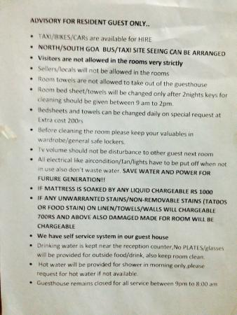 Gabriels Guest House : Meaningless rules