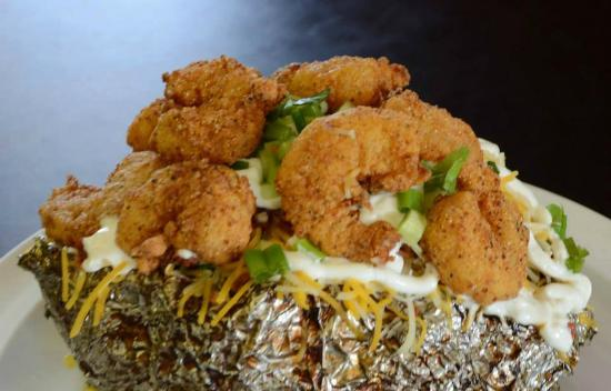 Cou-Yons Bar-B-Q: Shrimp stuffed Potato!