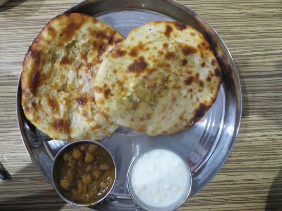 Bharawan Da Dhaba: Paneer and aloo kulcha with raitha and channa.