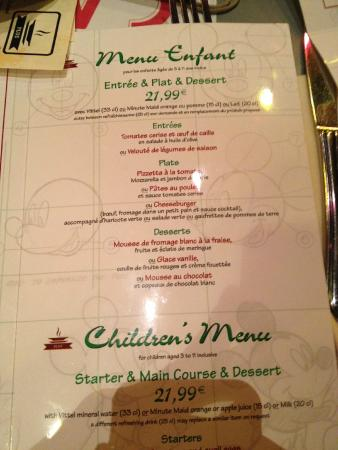 Menu enfant 2014 Picture of Cafe Mickey MarnelaVallee TripAdvisor