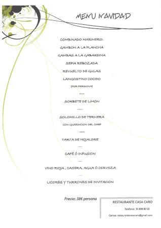 Restaurante Casa Caro: MENU NAVIDADES 2014