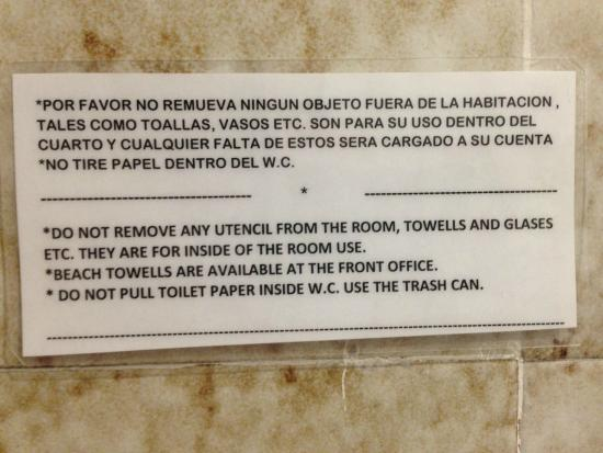 Hotel D'Gomar: Restrictions for Bathroom