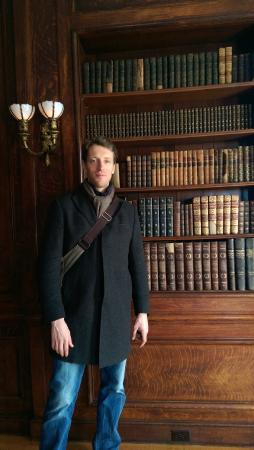 American Irish Historical Society: in the library, we were allowed to examine the books.