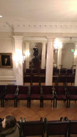 American Irish Historical Society: A large dining hall, photo taken from winding stairs