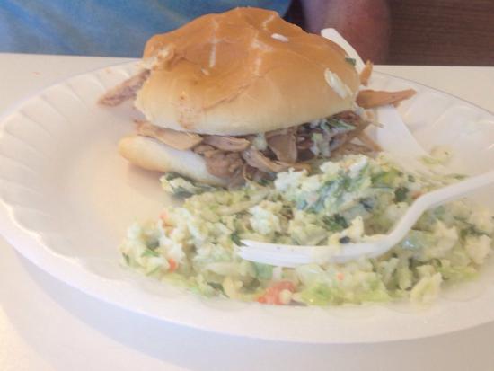 McCabe's BBQ: Sliced pork barbecue sandwich & cole slaw