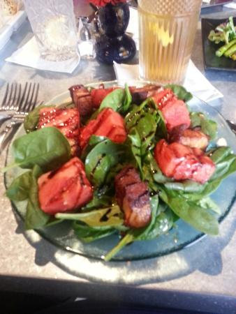 Crady's Eclectic Cuisine on Main: Candied Pork Belly and Grilled Watermelon Salad