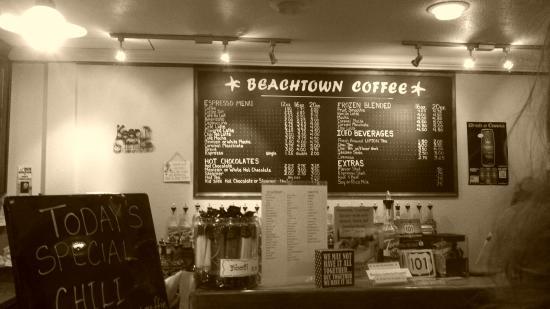 Beachtown Coffee: Drink board