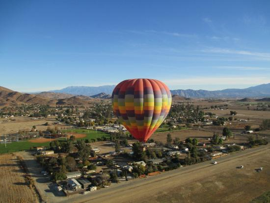 A Grape Escape Balloon Adventure : The view from our basket to a sister balloon