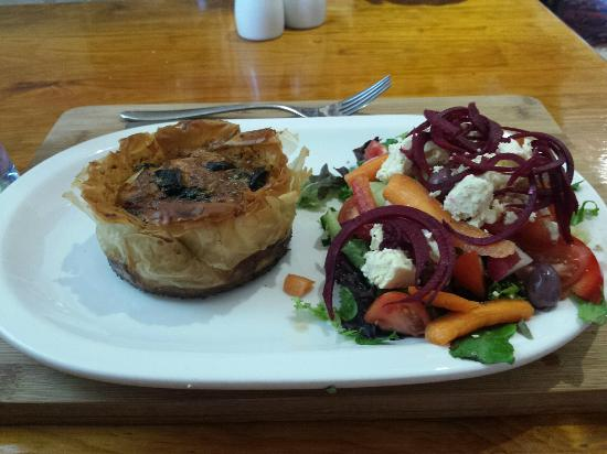 Nourish: Delicious mushroom quiche done in phyllo pastry and a scrumptious salad
