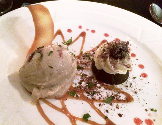 Mezzaluna: Tallegio spiced fig ice cream and espresso cake. This is two desserts on one plate. Nice