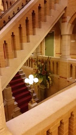 The staircase at the parkhotel Den Haag. Love the brickwork.