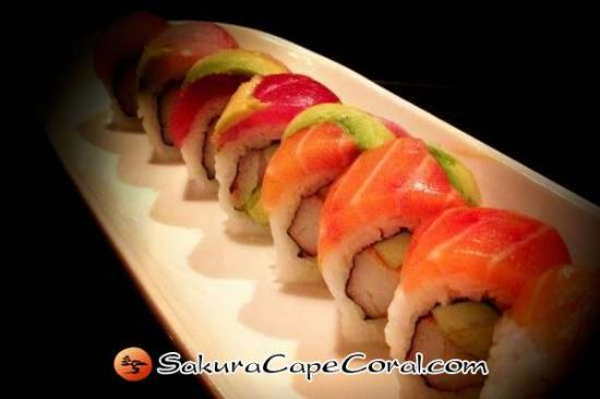 Sakura Japanese Steak House & Sushi Bar: Cape Coral Sushi - Rainbow Roll