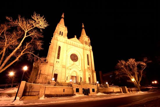 St. Joseph Cathedral at night.