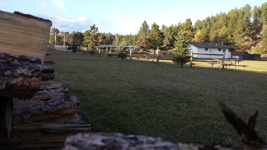 Whispering Winds Cottages: A view of the campsite green