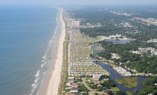 Pirateland Oceanfront Campground Aerial View