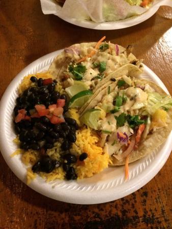 Taco Shack: Fish tacos with mango salsa, yellow rice and black beans!