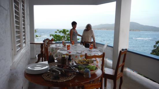 Noel Coward's Blue Harbour: al fresco eating on the verandah with ocean and mountain views