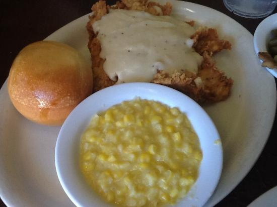Cartwright's Ranch House: Chicken Fried Chicken, creamed corn and roll
