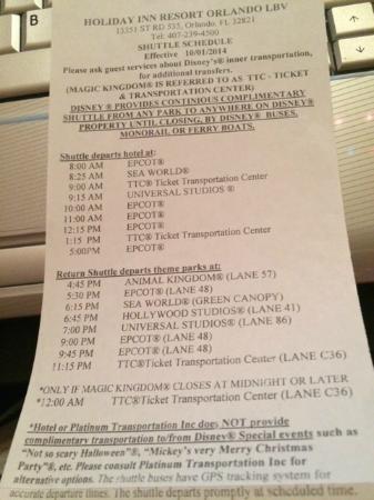 Holiday Inn Resort Orlando-Lake Buena Vista: Disney shuttle schedule from Nov 2014